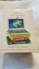 2011 Hallmark Keepsake World-Class Teacher - Laptop Computer Books Gold Star