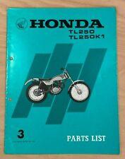 Used Genuine Honda TL250 TL250 K1 Parts Book List Manual