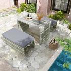 Yitahome 4 Pc Rattan Patio Furniture Set Garden Lawn Sofa Cushioned Wicker Sofa