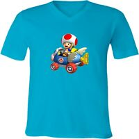 Nintendo Super Mario Kart Toad Unisex Men Women V-Neck Racing Video Game T-Shirt