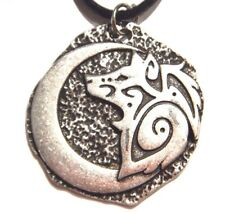 SILVER TRIBAL WOLF & CRESCENT MOON MEDALLION PENDANT necklace spirit totem W2