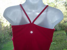 Lululemon Red Power Y Tank Bra Top with CUPS Yoga Gym Run Womens 6