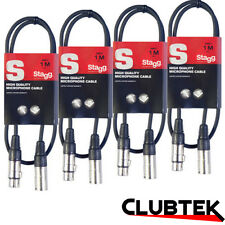 4 x XLR Lead Stagg 1m Male Female Microphone Balanced Audio Signal Cable UK