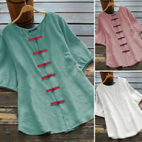 ZANZEA Women Chinese Vintage Cotton T-Shirt Top Elastic Cuff Short Sleeve Blouse