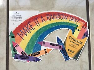 Vintage Crayola Cardboard Die Cut Make It a Rainbow Hallmark 1986 Binney & Smith