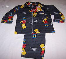 The Simpsons Bart Boys Grey Printed Flannel Pyjama Set Size 5 New