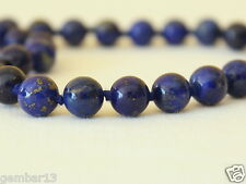 "Natural Lapis Lazuli Necklace 8mm lapis 16"" necklace Hand Knotted Grade 'A' 8 mm"