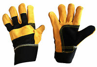 Premium Gold Leather Rigger DIY Work Gardening Safety Gloves - See Offers
