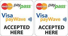 SET OF 2 MASTERCARD PAYPASS VISA PAYWAVE STICKERS/DECALS FOR SHOP DOOR WINDOW