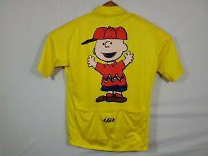 Rare Louisgarneau Charlie Brown Cycling Jersey Size Adult L Short Sleeve Zip