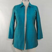 CHICOS Teal Green Textured 100% SILK Long Dressy Blazer Open Jacket Size 2