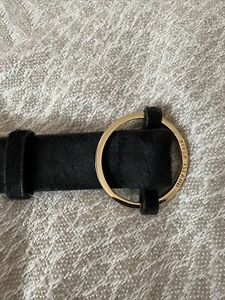 """Vintage Real Leather Black Jeans Belt, brass buckle, Size Small (Waist 27""""-36"""")"""