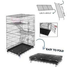 "45.3"" 3-Tier Kitten Cat Ferret Cage 360° Portable Fold Cat Home Pet Cage Playpen"