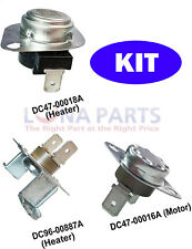 3 Pc Replacement Parts for Samsung Dryers DC96-00887A DC47-00018A DC47-00016A