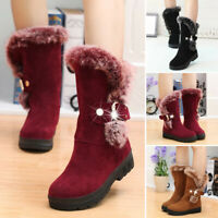 Women Winter Suede Mid Calf Snow Boots Fur Lined Warm Shoes Booties Size 6.5-9