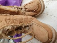 UGG pale Tan Lace Up moccasin Boots Size 3 or 4