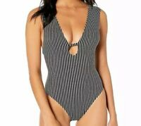 NWT Seafolly Womens Deep V Plunge Maillot One Piece Swimsuit, Active Black, Sz 4