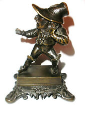 Rare Fine antique 19th bronze toothpick holder caddy scary dwarf figure