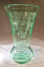 """PADEN CITY VINTAGER LADY PICKING GRAPES ETCHED GREEN #184 10"""" TALL FLOWER VASE!"""