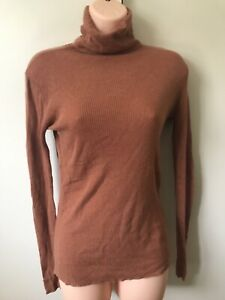American Vintage Turtleneck Cotton Cashmere Fine Wool Jumper SiZe S 8-10 Brown