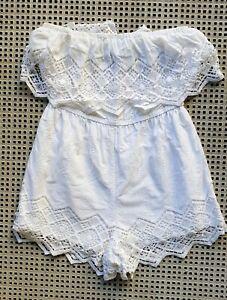 💜 BARDOT Cotton Ruffle Off Shoulder Romper White Size 12 Buy7=FreePost L859