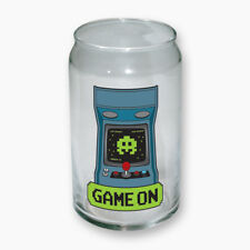 GAME ON Video Arcade Game Console Image Clear Glass Can NEW UNUSED