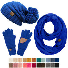 C.C 3pc Set Warm Chunky Soft Stretch Cable Slouchy Beanie Gloves and Scarves Set