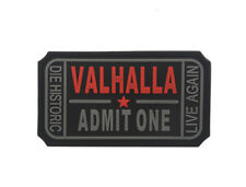 3D Pvc Valhalla Admit One Morale Vikings Logo Tatical Rubber Hook Patch Dark Red