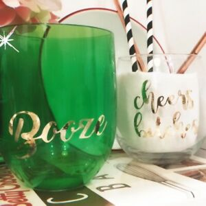 1+ Custom Stemless Wine Glass Green Plastic Summer Cheers Bitches or Lush Gift!
