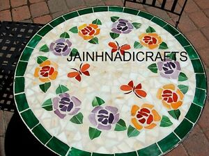 "30"" Marble Dining Hallway Coffee Side Center Corner Mosaic Inlay Table Top Lapis"