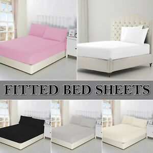 100% Poly Cotton Bed Sheets Extra Deep Full Fitted Sheet Single Double King Size