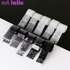 10 Rolls Black White Lace Transfer Foil Nail Art Sexy Full Wrap Gel Polish Decor