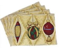 """DaDa Bedding Golden Christmas Ornaments Placemats, Set of 4 Tapestry 13"""" x 19"""""""