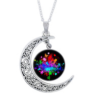 Autism Awareness Tree Photo Tibet Silver Cabochon Glass Crescent Moon Necklace