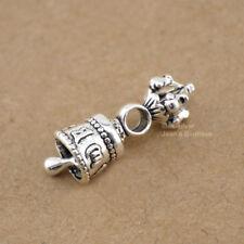 925 Sterling Silver Tibetan Buddhism Vajra Bell Dorje Charm Spacer Bead A2636