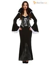 Ladies Gothic Vampire Costume Halloween Fancy Dress Size 10 12 14 Vampiress