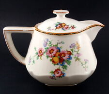 Crown Ducal Teapot & Lid Cream Art Deco Style Floral Design #1504 England