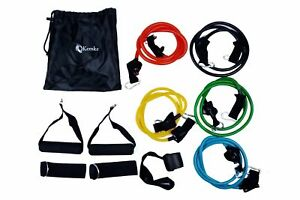 Resistance Bands Set Workout Power Exercises Pilates Yoga Fitness - 11 Piece Set