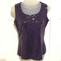 St John Shirt Tank Top Small Purple Blouse Sequin Sleeveless Sparkle Scoop Neck