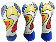 Majek Retro Golf #1 3 5 Driver & Wood Headcover Psychedelic Design Vintage Style