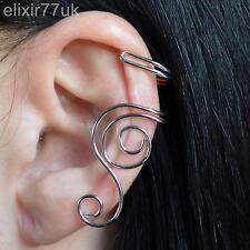 NEW SILVER SPIRAL SWIRL STEAMPUNK EAR CLIP EARRING CUFF EMO GOTHIC PUNK ROCK UK