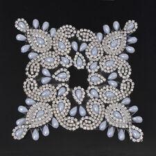Hotfix Rhinestone Diamante Crystal Iron on Chain Applique Motif Wedding Trim 206