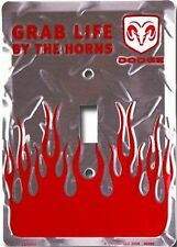 Dodge Flames Grab Life By The Horns Aluminum Novelty Single Light Switch Cover