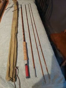 """Vintage MONTAGUE FLASH, 4 PIECE BAMBOO, 8'9"""" FLY FISHING ROD WITH TWO TIPS"""