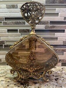 VINTAGE ORMOLU GOLD FILIGREE PERFUME BOTTLE WITH BEVELED AMBER GLASS-FLOWERS