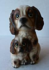 Cocker Spaniel Double Puppy Dog Figure Flower Vase Ceramic Hand Painted-Vintage