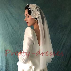 Juliet Vintage Wedding Veils for brides Ivory Bridal Accessories Pearl 2T Short
