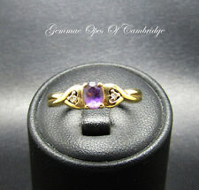 9ct Gold Amethyst and Diamond Ring Size M