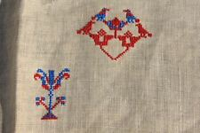 19th c. Antique unfinished PA Pennsylvania German Show Towel linen embroidery