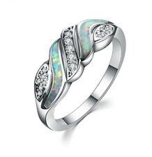 Silver Elegant Rhombus White Fire Artificial Opal CZ Wedding Jewelry Ring Size 8